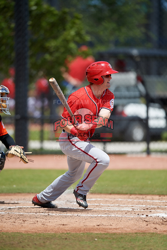 Washington Nationals Nick Choruby (9) during a Minor League Spring Training game against the Miami Marlins on March 28, 2018 at FITTEAM Ballpark of the Palm Beaches in West Palm Beach, Florida.  (Mike Janes/Four Seam Images)