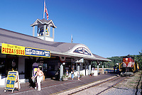 New Hampshire, train station, Weirs Beach, NH, Winnipesaukee Railroad train pulls up to Weirs Station on Lake Winnipesaukee at Weirs Beach.