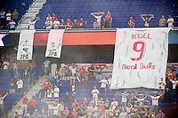 New York Red Bulls fans hang banners in honor of former Red Bull and current CD Chivas USA  player Juan Pablo Angel before the game. The New York Red Bulls and CD Chivas USA played to a 1-1 tie during a Major League Soccer (MLS) match at Red Bull Arena in Harrison, NJ, on May 23, 2012.