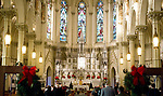 WATERBURY, CT-122517JS02---Christmas Day service  St. Patrick's Church, part of the St. Blaise Parish, in Waterbury on Monday. While the crowd was light due to the weather, the church was filled for the Christmas Eve Mass. <br /> Jim Shannon Republican-American