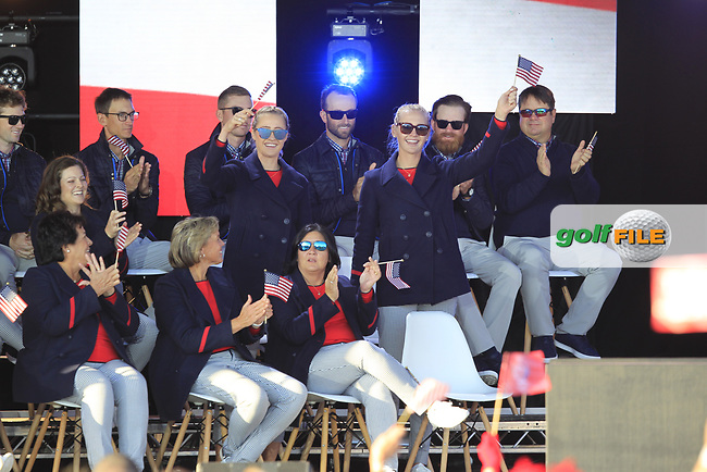 Jessica and Nelly Korda (USA) gets picked to play in the morning foursomes during the Opening Ceremony of the Solheim Cup 2019 at Gleneagles Golf CLub, Auchterarder, Perthshire, Scotland. 12/09/2019.<br /> Picture Thos Caffrey / Golffile.ie<br /> <br /> All photo usage must carry mandatory copyright credit (© Golffile | Thos Caffrey)
