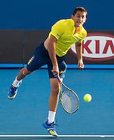 NICOLAS ALMAGRO (ESP) against GRIGOR DIMITROV (BUL)  in the second round of the Men's Singles. Nicolas Almagro beat Grigor Dimitrov 4-6 6-3 6-7 6-4 6-0..18/01/2012, 18th January 2012, 18.01.2012..The Australian Open, Melbourne Park, Melbourne,Victoria, Australia.@AMN IMAGES, Frey, Advantage Media Network, 30, Cleveland Street, London, W1T 4JD .Tel - +44 208 947 0100..email - mfrey@advantagemedianet.com..www.amnimages.photoshelter.com.