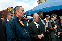 New York, NY -  30 October 2009-  Seven time Tour de France winner Lance Armstrong and New York City Mayor Mike Bloomberg at the  Union Square Greenmarket