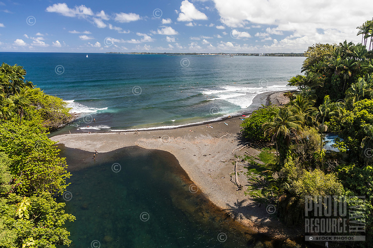 An aerial view of Honoli'i Beach Park and Bay, Hilo, Big Island of Hawai'i.