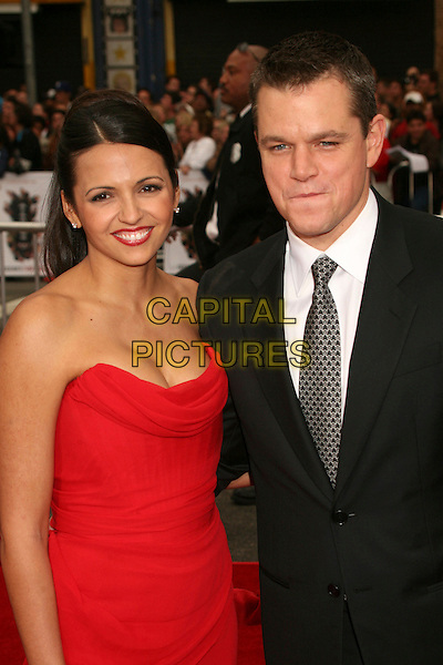 """LUCIANA BARROSO & MATT DAMON.""""Ocean's Thirteen"""" Los Angeles Premiere at Grauman's Chinese Theatre, Hollywood, California, USA..June 5th, 2007.half length dress black suit jacket strapless married husband wife red lipstick .CAP/ADM/BP.©Byron Purvis/AdMedia/Capital Pictures"""