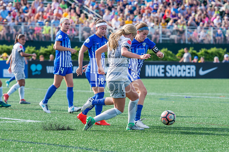 Boston, MA - Saturday June 24, 2017: Makenzy Doniak and Christen Westphal during a regular season National Women's Soccer League (NWSL) match between the Boston Breakers and the North Carolina Courage at Jordan Field.