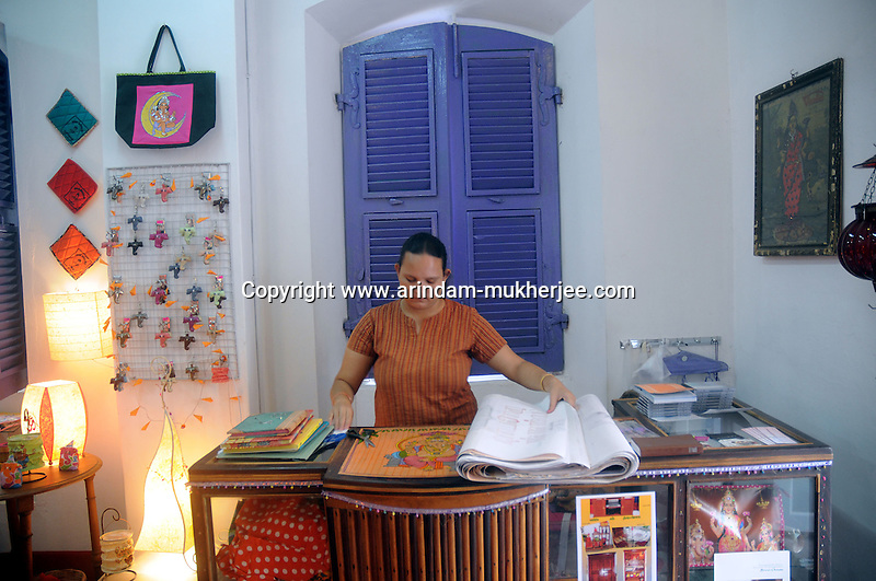 A French decendant running a Boutique in the French colony of  Pondicherry.Arindam Mukherjee/Sipa