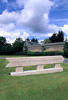 monument sign at Omaha Beach Cemetery in Normandy France