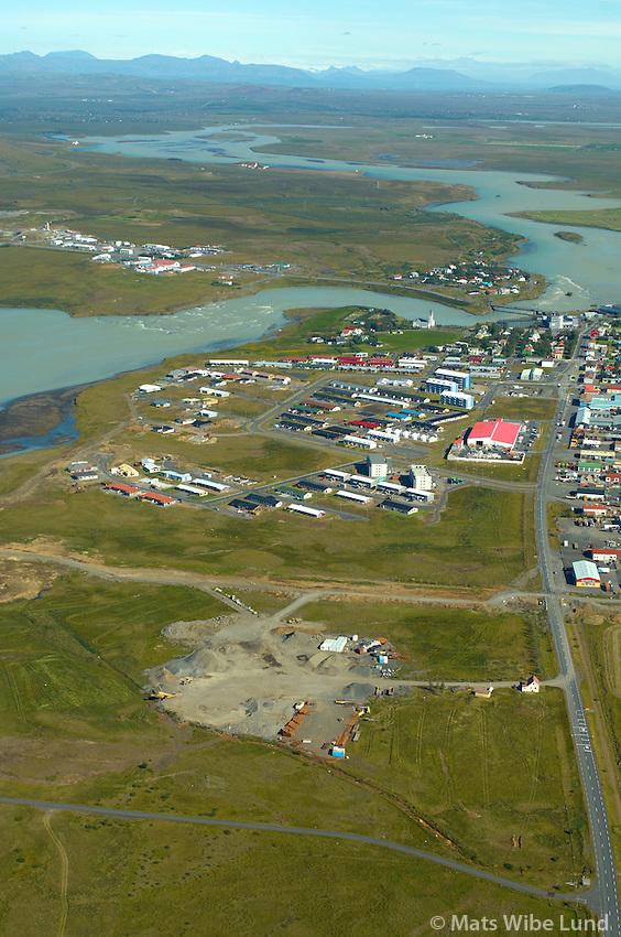 Selfoss séð til norðurs, Árborg .-  Hagi fremst t.v. / Selfoss viewing north, Arborg