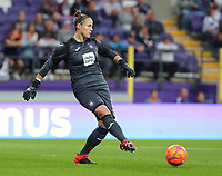 20190912 - Anderlecht , BELGIUM : Anderlecht's goal keeper Justine Odeurs is pictured during the female soccer game between the Belgian Royal Sporting Club Anderlecht Dames  and BIIK Kazygurt from Shymkent in Kazachstan, this is the first leg in the round of 32 of the UEFA Women's Champions League season 2019-20120, Thursday 12 th September 2019 at the Lotto Park in Anderlecht , Belgium. PHOTO SPORTPIX.BE | SEVIL OKTEM