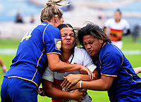 Waikato Women's Stacey Waaka is tackled during the match against Otago. Day one of the 2018 Bayleys National Sevens at Rotorua International Stadium in Rotorua, New Zealand on Saturday, 13 January 2018. Photo: Dave Lintott / lintottphoto.co.nz