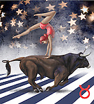 Illustrative image of woman performing on top of bull representing Taurus sign