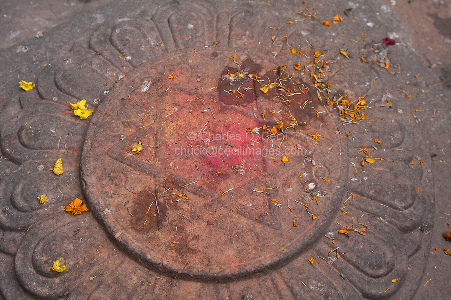 Kathmandu, Nepal.  Six-pointed Star, Symbol of Knowledge in Hindu Tradition.  This is in the floor of the courtyard of the Kumari Bahal, house of the Kumari Devi, a young girl revered as a goddess by Kathmandu Hindus.
