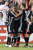 US Open Cup Quarterfinal, United .Jamil Walker (23) celebrates his second goal of the game with teammates Jaime Moreno, left, and Bobby Boswell. DC United defeated the New York Red Bulls 3-1, Wednesday, August 23, 2006 at RFK Stadium.