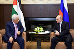Russian President Vladimir Putin meets with Palestinian President Mahmoud Abbas at the Bocharov Ruchei state residence in Sochi, Russia, May 11, 2017. Photo by Thaer Ganaim