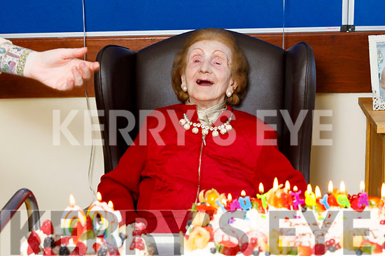 Joan Hayes celebrating her 100th birthday in the Oaklands Nursing Home in Listowel on Thursday