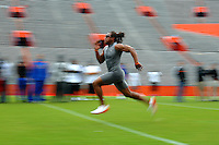 University of Florida safety Tony Joiner is a blur as he runs the 40 yard dash for a group of NFL scouts during Pro Day before the NFL Draft at Ben Hill Griffin Stadium on the University of Florida campus in Gainesville, Fl. (The Florida Times-Union, Rick Wilson)
