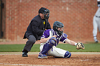 High Point Panthers catcher Brian Rall (20) frames a pitch as home plate umpire Tony Carilli looks on during the game against the Campbell Camels at Williard Stadium on March 16, 2019 in  Winston-Salem, North Carolina. The Camels defeated the Panthers 13-8. (Brian Westerholt/Four Seam Images)