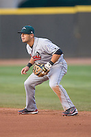 Second baseman Jaime Pedroza #6 of the Great Lakes Loons on defense versus the Dayton Dragons at Fifth Third Field April 22, 2009 in Dayton, Ohio. (Photo by Brian Westerholt / Four Seam Images)