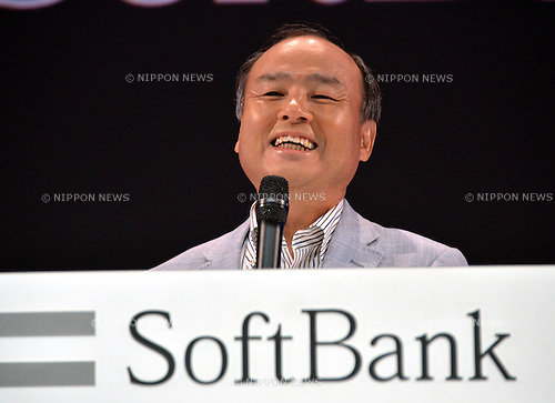 September 30, 2013, Tokyo, Japan - President Masayoshi Son of Japan's Softbank Corp. fields questions during a news conference at a Tokyo hotel following a launch of new Android smartphone models on Monday, September 30, 2013.  (Photo by Natsuki Sakai/AFLO)
