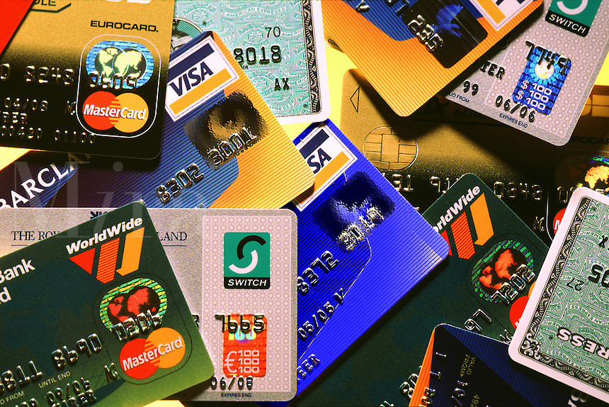 Selection of credit and charge cards in regular use