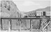 Left-side view of RGS Goose #5 on Bilk trestle near Vance Junction.<br /> RGS  Bilk, CO  Taken by Perry, Otto C. - 6/24/1944