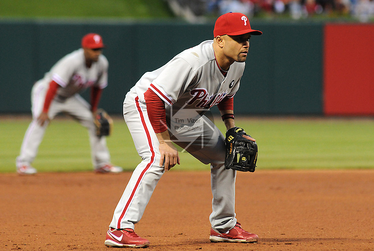 17 May 2011                              Philadelphia Phillies third baseman Placido Polanco (27) covers third base early in the game. The St. Louis Cardinals defeated the Philadelphia Phillies 2-1 on Tuesday May 17, 2011 in the second game of a two-game series at Busch Stadium in downtown St. Louis.