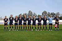 US Women's National Team starting lineup for game vs Iceland at 2010 Algarve Cup in Vila Real Sto. Antonio, Portugal.