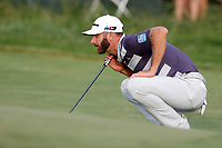 Dustin Johnson (USA) lines up a putt on the 16th hole during the third round of the 118th U.S. Open Championship at Shinnecock Hills Golf Club in Southampton, NY, USA. 16th June 2018.<br /> Picture: Golffile | Brian Spurlock<br /> <br /> <br /> All photo usage must carry mandatory copyright credit (&copy; Golffile | Brian Spurlock)