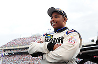 May 1, 2009; Richmond, VA, USA; NASCAR Nationwide Series driver Marc Davis prior to the Lipton Tea 250 at the Richmond International Raceway. Mandatory Credit: Mark J. Rebilas-