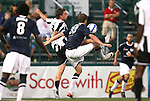 26 August 2011: Rochester's Drew Cost (3) and Harrisburg's Brian Ackley (33). The Harrisburg City Islanders defeated the Rochester Rhinos 2-1 in their USL PRO semifinal played at Sahlen's Stadium in Rochester, New York.