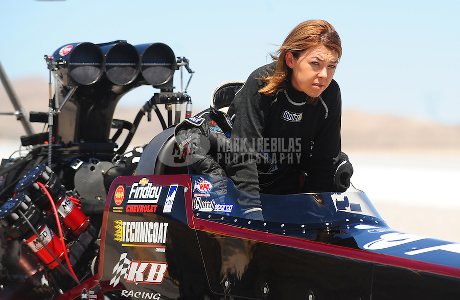 Apr. 13, 2008; Las Vegas, NV, USA: NHRA top fuel dragster driver Hillary Will during the SummitRacing.com Nationals at The Strip in Las Vegas. Mandatory Credit: Mark J. Rebilas-