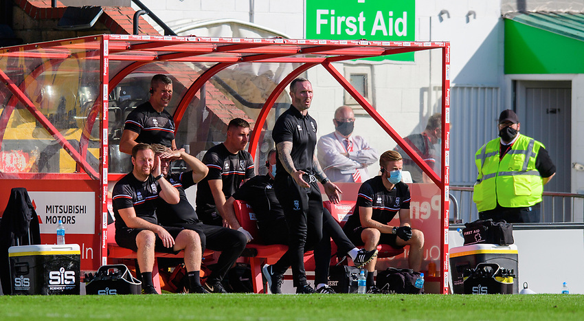 Lincoln City manager Michael Appleton shouts instructions to his team from the technical area<br /> <br /> Photographer Chris Vaughan/CameraSport<br /> <br /> The EFL Sky Bet League One - Saturday 12th September 2020 - Lincoln City v Oxford United - LNER Stadium - Lincoln<br /> <br /> World Copyright © 2020 CameraSport. All rights reserved. 43 Linden Ave. Countesthorpe. Leicester. England. LE8 5PG - Tel: +44 (0) 116 277 4147 - admin@camerasport.com - www.camerasport.com - Lincoln City v Oxford United