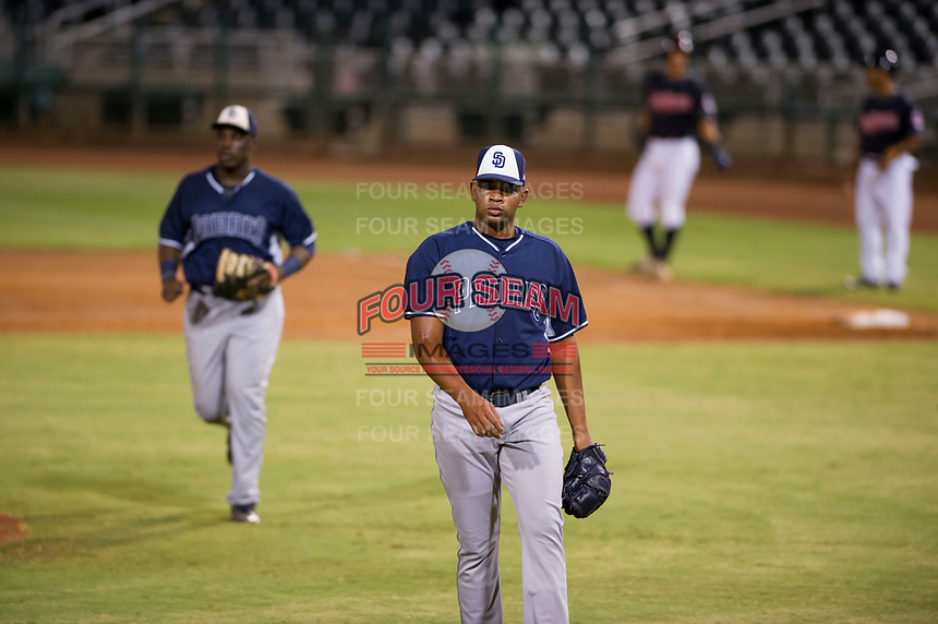AZL Padres relief pitcher Carlos Rivera (28) walks off the field between innings of the game against the AZL Indians on August 30, 2017 at Goodyear Ball Park in Goodyear, Arizona. AZL Padres defeated the AZL Indians 7-6. (Zachary Lucy/Four Seam Images)