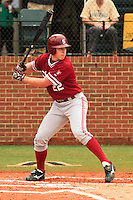 NASHVILLE, TENNESSEE-Feb. 27, 2011:  Brian Guymon of Stanford hits during the game at Vanderbilt.  Stanford defeated Vanderbilt 5-2.