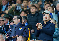 Leicester City owner Vichai Srivaddhanaprabha looks to the skies during the UEFA Champions League QF 2nd Leg match between Leicester City and Atletico Madrid at the King Power Stadium, Leicester, England on 18 April 2017. Photo by Andy Rowland.