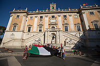 Palestinian Flag outside Rome's City Hall in Piazza del Campidoglio.<br />