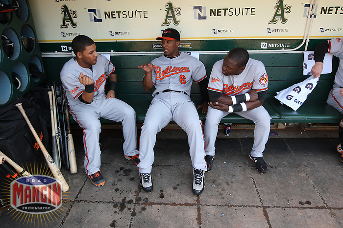 OAKLAND, CA - JUNE 6:  Robert Andino #12 (left), Melvin Mora #6 and Felix Pie #18 of the Baltimore Orioles get ready in the dugout before the game against the Oakland Athletics at the Oakland-Alameda County Coliseum on June 6, 2009 in Oakland, California. Photo by Brad Mangin