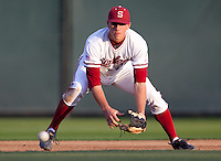 STANFORD, CA - April 12, 2011: Stephen Piscotty of Stanford baseball fields a grounder during Stanford's game against Pacific at Sunken Diamond. Stanford won 3-1.
