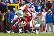 Landover, MD - December 9, 2018: Washington Redskins Byron Marshall (34) makes the tackle on New York Giants wide receiver Jawill Davis (80) during kickoff of game between the New York Giants and Washington Redskins at FedEx Field in Landover, MD. The Giants defeated the Redskins 40-16 dropping the Redskins to 6-7 on the season. (Photo by Phillip Peters/Media Images International)