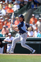 Tampa Bay Rays catcher John Jaso (28) during a Spring Training game against the Baltimore Orioles on March 14, 2015 at Ed Smith Stadium in Sarasota, Florida.  Tampa Bay defeated Baltimore 3-2.  (Mike Janes/Four Seam Images)