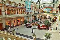 Dubai. United Arab Emirates. Mercato Shopping Mall, interior. Café and shops. Italian style..