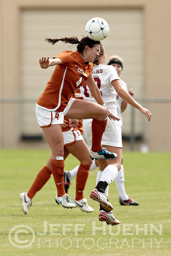 SAN ANTONIO, TX - NOVEMBER 3, 2010: The University of Oklahoma Sooners vs. the University of Texas Longhorns in the Big 12 Women's Soccer Championship Quarterfinals at the Blossom Soccer Stadium. (Photo by Jeff Huehn)