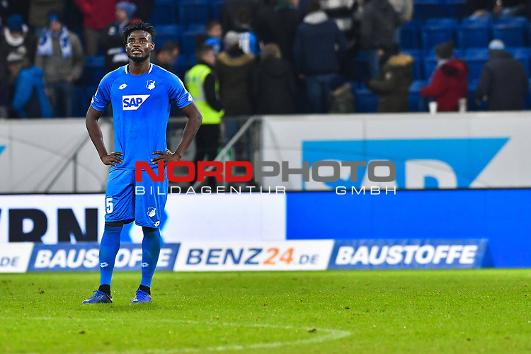 01.12.2018, wirsol Rhein-Neckar-Arena, Sinsheim, GER, 1 FBL, TSG 1899 Hoffenheim vs FC Schalke 04, <br /> <br /> DFL REGULATIONS PROHIBIT ANY USE OF PHOTOGRAPHS AS IMAGE SEQUENCES AND/OR QUASI-VIDEO.<br /> <br /> im Bild: Frust bei Kasim Adams (TSG Hoffenheim #15)<br /> <br /> Foto © nordphoto / Fabisch