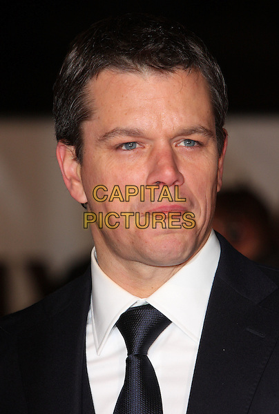 """MATT DAMON .Attending the """"Invictus'"""" UK Film Premiere at the Odeon West End cinema, Leicester Square, London, England, January 31st, 2010..arrivals portrait headshot black tie white shirt mouth tongue funny .CAP/ROS.©Steve Ross/Capital Pictures"""