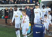 Pictured: Friday 26 December 2014<br /> Re: Premier League, Swansea City FC v Aston Villa at the Liberty Stadium, Swansea, south Wales, UK.<br /> <br /> Nathan Dyer leaving the tunnel