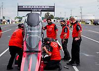 Jul 19, 2020; Clermont, Indiana, USA; Crew members for NHRA top fuel driver Leah Pruett during the Summernationals at Lucas Oil Raceway. Mandatory Credit: Mark J. Rebilas-USA TODAY Sports