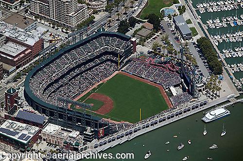 aerial photograph AT&T ball park Giant's stadium South Beach San Francisco, California