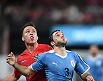 Corey Baird (left) of the United States and Matias Vina of Uruguay wait for the ball to drop during an international friendly game  on September 10, 2019 at Busch Stadium in St. Louis, Missouri USA<br /> AFP Photo by Tim VIZER