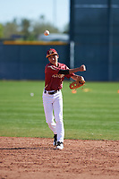 Kaysen Kajiwara (2) of Damien Memorial Schools in Mililani, Hawaii during the Baseball Factory All-America Pre-Season Tournament, powered by Under Armour, on January 14, 2018 at Sloan Park Complex in Mesa, Arizona.  (Zachary Lucy/Four Seam Images)